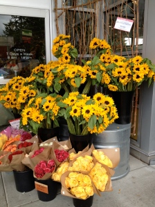 Flowers for sale lining doorway to market