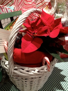 Poinsettia, candy canes, red blanket in white basket
